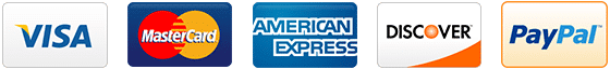 Visa MasterCard American Express Discover PayPal accepted here