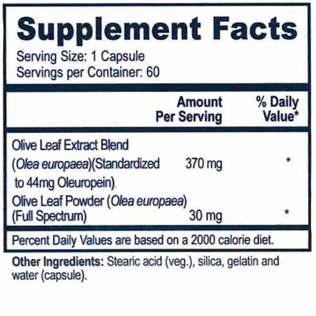 Ultra Immune Plus - Olive Leaf- Supplement Facts