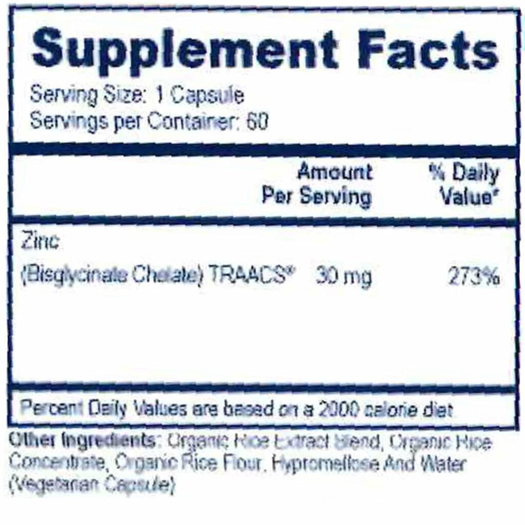 Zinc- Supplement Facts
